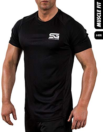 Satire Gym Fitness T-Shirt Herren - Funktionelle Sport Bekleidung - Geeignet Für Workout, Training - Slim Fit (L, schwarz)