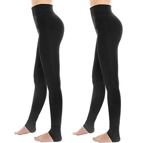 topop Leggings Collant in lana triplure morbido, alta dimensioni Leggings elastiche, Inverno caldo Leggings nero Noir [pack de 2] taglia unica