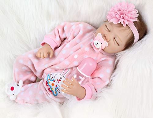 ZIYIUI 22 Pulgadas 55 cm Muñeco Reborn Bebé Chicas Durmiendo Reborn...
