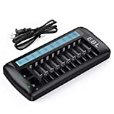 EBL 12 Bay LCD AA AAA 9V Battery Charger for Rechargeable Batteries, New Released