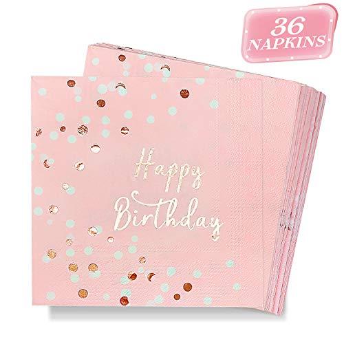 DYFFLE Servietten Geburtstag Rosegold - 36 Stück Happy Birthday Servietten Rosa für Party, Hochwertige Tischdeko Geburtstag Papierservietten Rosa Gold 33x33cm für Geburtstagsdeko Mädchen