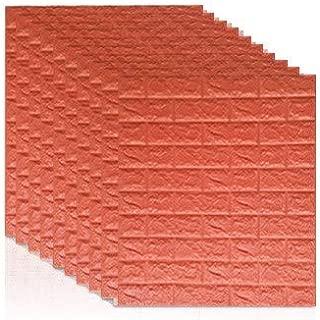 TJX75K 7077 3D Brick Wall Stickers DIY Self Adhensive Decor Foam Waterproof Wall Covering Wallpaper for TV Background Kids Living Room-Orange red-10pcs77 X 70 X0.55cm