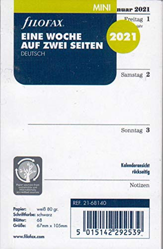 Filofax 2021 Kalender Mini A8 Kalendarium 1Woche 2Seiten Wochenblätter Deutsch 21-68140