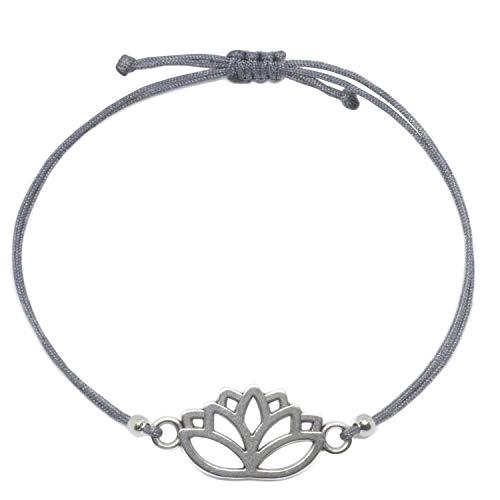 Pulsera Lotus de plata Selfmade Jewelry con flor de loto, tamaño ajustable en banda gris, hecha a mano, para mujeres y niñas, incluye bolsita para joyas