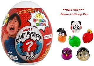P2P Kids Boys Girls Toys Indoor Play Giant Jumbo Mystery Egg Surprise (Bonus: Lallioop Pen) (1) Buddy Pal Ryan's World Surprise (May Vary) (1) Ryan's World Series 2 White Egg ~ Bundle of 3
