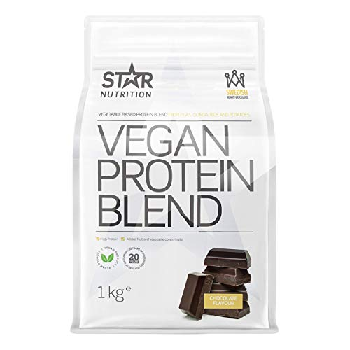 Vegan Protein Blend from Star Nutrition | Vegetable Protein Powder | Vegan Proteins with Vitamins and Minerals | Vegan, Dairy Free and Glutenfree | 1kg | Chocolate