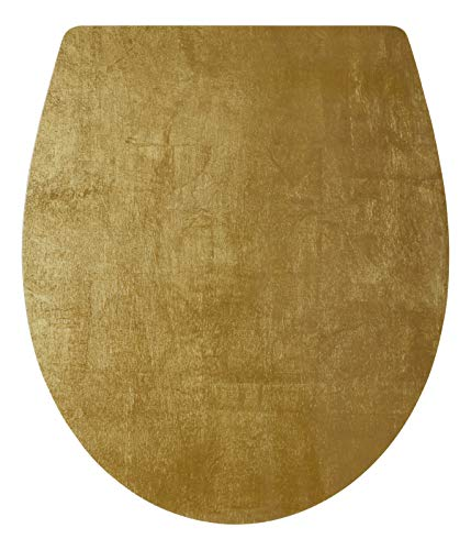SITZPLATZ® WC-Sitz mit Absenkautomatik, Gold Dekor Golden Touch, abnehmbar, Toilettendeckel aus antibakteriellem Duroplast, Top-Fix Befestigung von oben, universale O Form, Toilettensitz Gold, 40700 7