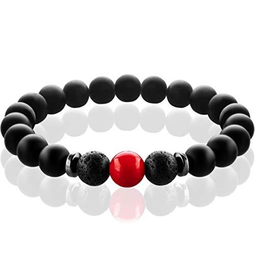 FABACH Chakra Perlenarmbänder mit 8mm Schmuckstein-Perlen, Lavastein und Onyx-Naturstein (schwarz) - Yoga Armbänder aus Heilsteinen - Energiearmbänder für Damen und Herren