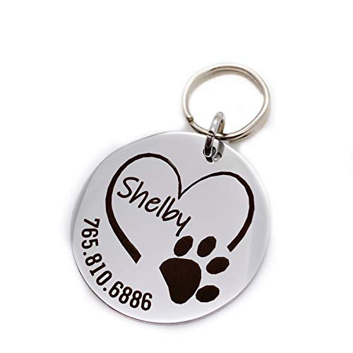 Round Engraved Heart with Paw Print Personalized Stainless Steel Pet ID Collar Tag