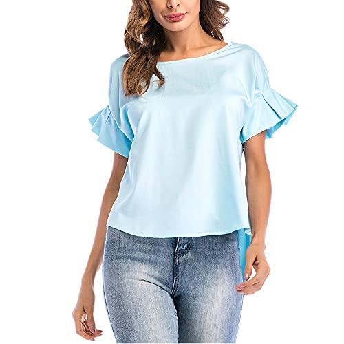 Camisa Mujer Top Mujer Verano Dulce Chic Moda Cuello Redondo Mangas Cortas Mangas Acampanadas Elegante Viajero Suelto Cómodo Mujer Blusa Mujer Camiseta C-Blue M