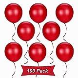 Gxhong Globos Rojos de 100 Piezas, Globo de Navidad, Globos de látex de 12 Pulgadas para Helio, Globos de graduación Globos de Boda para Decoraciones navideñas Decoraciones para Fiestas (Rojo)