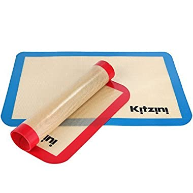 Silicone Baking Mat Set of 2 - Two Half Non Stick Sheet Mats - Large BPA Free Professional Grade Liner Sheets - Perfect Bakeware for Making Cookies, Macarons, Bread and Pastry