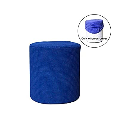 Frjjthchy Stretch Ottoman Slipcover Furniture Protector Cover with Elastic Bottom (Blue)