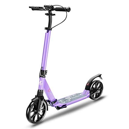 Patinetes HAIZHEN- Scooter de cercanías Plegable Altura Ajustable 2 Ruedas con Guardabarros Trasero Freno for niños niñas Adultos, Capacidad de Peso de 100 kg (Color : Purple)