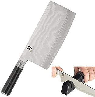 Shun DM0712 Classic Vegetable Cleaver, 7-Inch & Kai Diamond and Ceramic Retractable Knife Sharpener (Bundle)