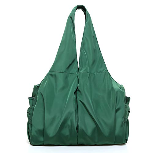 JIEXIAO Large-Capacity Fashion Handbags, Waterproof Nylon Cloth, Lightweight One-Shoulder Handbags, Outdoor Travel Mummy Bags,Green