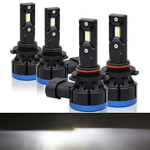 Syneticusa 9005+9006 Kit de conversión de faros delanteros LED de haz alto/bajo (200 W, 20000 lm, 6000 K, repuesto halógeno, instalación rápida