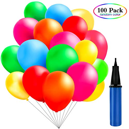 TedGem 100 Piezas Multicolores Globos con bomba de