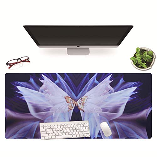 Extended Butterfly Floral Mouse Pad XXL Large Desk Mat Gaming Mouse Pad Non-Slip Keyboard Pad for Laptop Computer Home Office Accessories(White Butterflies)