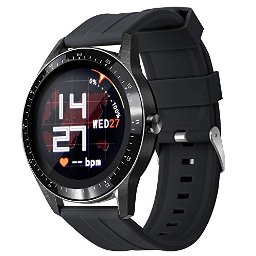 Smart Watch,Sport Band Fitness Tracker with Heart Rate Sleep Health Monitor 1.28 inch Touch Screen Convenient Communication IP67 Waterproof Music Smart Watch for Men Women Android iOS Phone (Black)