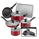 Farberware Dishwasher Safe Nonstick Cookware Pots and Pans Set, 15 Piece, Red
