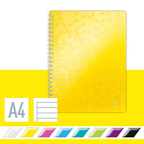 Leitz Cuaderno A4 con Tapas Flexibles, Amarillo, Encuadernación en Wiro, 80 hojas, a Rayas, Papel de Marfil de 80g/m², Gama WOW Get Organised