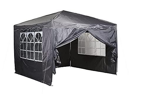 CHILLROI Faltpavillon Multifunktionszelt 3x3m Grau Polyester 200 Wasserdicht inklusive 4 Seitenwände mit Fenster, Tragetasche als Unterstand für Garten Markt Terrasse...