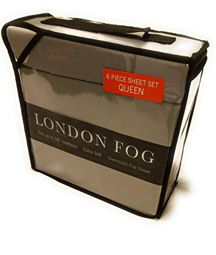 """LONDON FOG Supreme 6 Piece Queen Sheet Set fits up to 18"""" Wrinkle Resistant"""