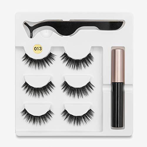 Magnet Eyelash Eyeliner Liquide Magnétique & Magnetic Falils Eyes & Tweezer Set Extension de cils imperméable longue durée (Color : 1)