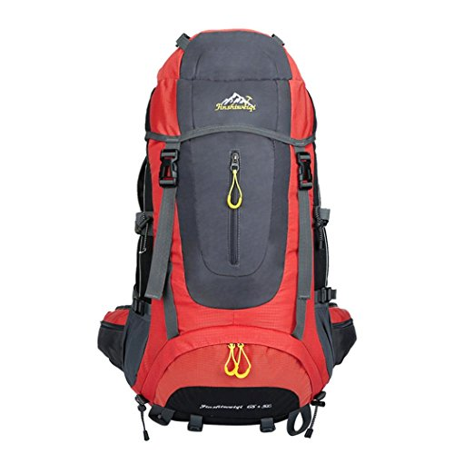 65L High Capacity Mountaineering Backpack Outdoor Leisure Oxford imperméable à l'eau Sac à dos léger Randonnée pédestre Escalade Package Sac à bandoulière 5 couleurs H67 x L35 x T35 CM , Red