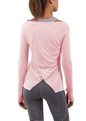 Bestisun Women's Long Sleeve Workout Tops Split Back Gym Running Clothes Muscle Active...