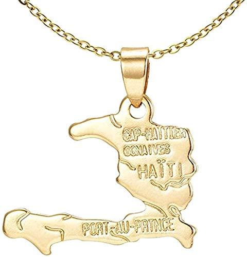 LKLFC Collar de Cadena Colgante Collar Mujeres Hombres Collar 18k Chapado en Oro aleación Mapa haitiano Colgante Collar Regalo
