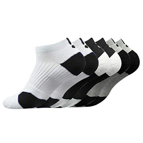 Litthing Calcetines Deportivos Antideslizantes de Algodón para Hombre Desodorante Respirables para Baloncesto Fútbol Yoga de Balonmano Correr engrosamiento de Ciclismo (Corto, 6)