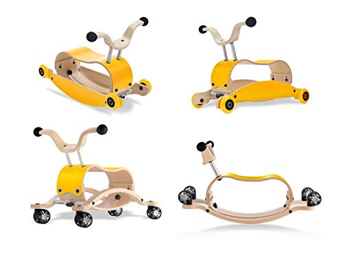 Unbekannt Wishbone Mini FLIP Deluxe Bundle Top gelb + Base gelb + Räder gelb + Race Base (mit 360° drehbaren Räder)