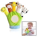 Xrten Baby Spielhandschuh,Plüsch Tiere Handpuppen Spielzeug Fingerpuppen Handschuh(Grün)