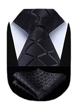 HISDERN Plaid Black Tie Handkerchief Woven Classic Stripe Men s Necktie & Pocket Square Set,Black,One Size
