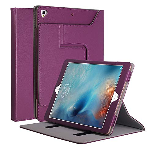CASZONE iPad 9.7 Case 2018/2017, Luxury Faux PU Leather Flip Stand Detachable Front Cover with Auto Sleep/Wake Cases for Apple iPad Air 1/2 9.7 Inch, iPad Pro 9.7 2016, iPad 5th/6th Generation- Purple