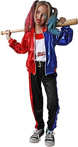Gojoy shop- Disfraz de Princesa arlequina para niñas Carnaval Halloween (Contiene chaqueta con camiseta, cinturón, pantalon y peluca, 4 Tallas Diferentes) (PANTALON LARGO, 7-9 AÑOS)