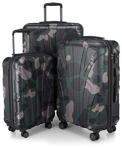 Suitline 3er Koffer-Set Trolley-Set Rollkoffer Hartschalen-Koffer Reisekoffer, TSA, (55 cm, 66 cm, 76 cm), 100% ABS, Matt, Camouflage