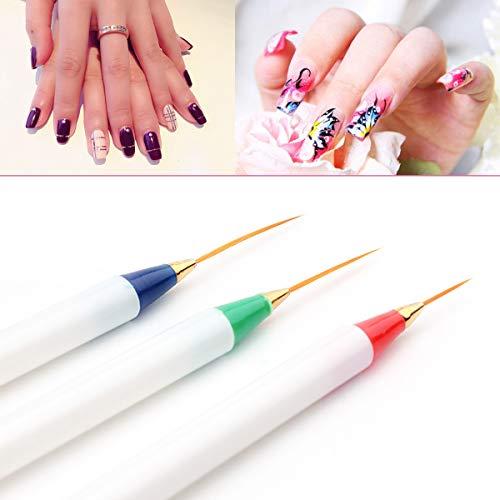 3pcs Nail Fiber Brush Pen Diamant Métal Acrylique Poignée Sculpture En Poudre Liquide Salon Liner Brosse À Ongles