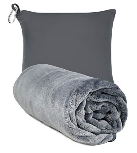 """Travel Blanket Pillow Airplane Blanket Packed - Compact Blanket - Holder Bag with Zipper Pocket - Wearable Blanket - Blanket for Any Travel - Soft Micro Fleece - 40"""" x 60"""""""