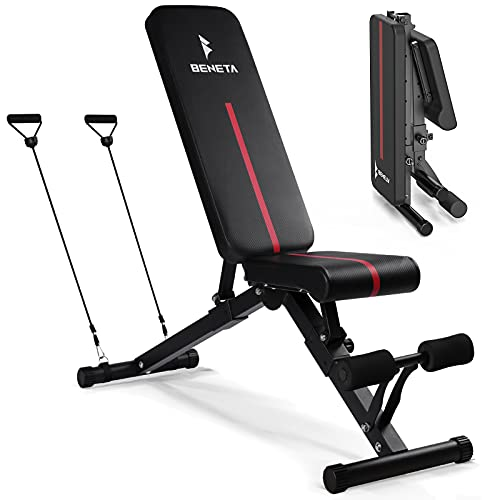 BENETA Adjustable Weight Bench for Full Body Workout. Multi purpose Foldable Bench Press Bench for Easy Storage. Suitable for Home, Office, Gym