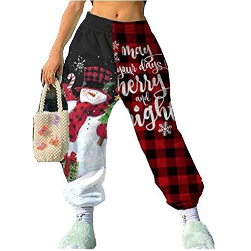 Women's Christmas Sweatpants Cinch Bottom Pants Elastic Waist Xmas Snowman Pants Athletic Jogger Lounge Trousers (Black, XL)