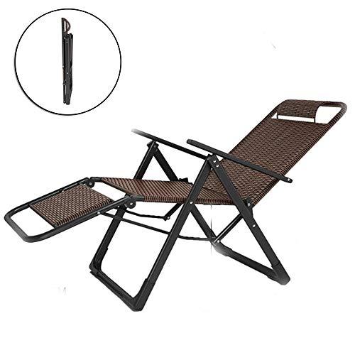HKIASQ Aluminium Poly Rattan Sonnenliege Mit Armlehnen, Klappbar, Gartenliege Mit Höhenverstellbarer Rückenlehne