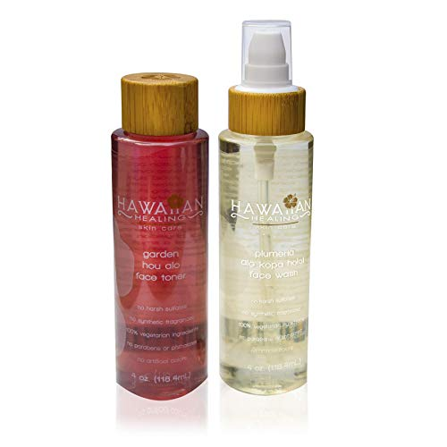 Hawaiian Healing Skin Care - Soothing Cleanser & Toner Duo - 100% Organic, No Synthetic Fragrances, Vegan, Hydrating