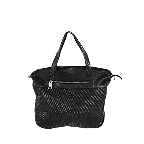 DEPECHE. Damen Tasche Woodstock Revival Shopper Black B11400