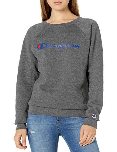 Champion Damen Powerblend Graphic Boyfriend Crew Sweatshirt, Dunkelgrau, X-Small
