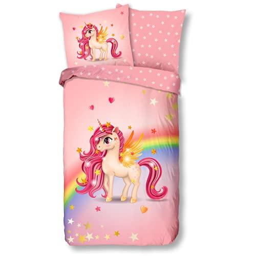 Aminata Kids Bettwäsche Einhorn-Motiv 135-x-200 Mädchen Kinder Baumwolle Jugendliche Teenager - Einhornbettwäsche mit Reißverschluss - Unicorn - Kinder-Bettwäsche-Set Sterne rosa Pferd-Tier-Motiv
