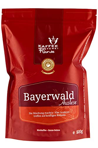 Kaffeerösterei Kirmse I Kaffee Bayerwald Auslese I 500g I Kaffeemischung I Kaffee gemahlen I Handverlesen I Fair gehandelt I Schonend geröstet I Wenig Säure I Filterkaffee I 80% Arabica + 20% Robusta