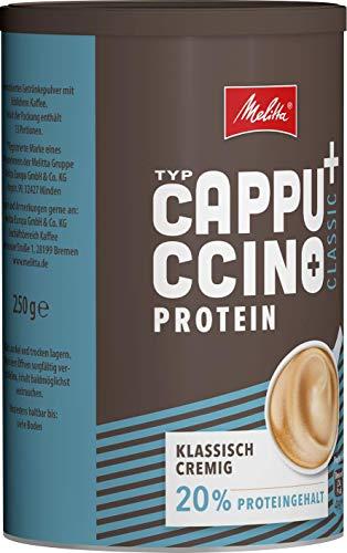 Melitta High Protein Cappuccino, koffeinhaltiges Getränkepulver, klassisch cremig mit Protein, 250 g Dose